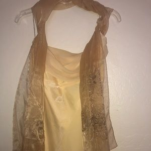 Champagne dress with a scarf